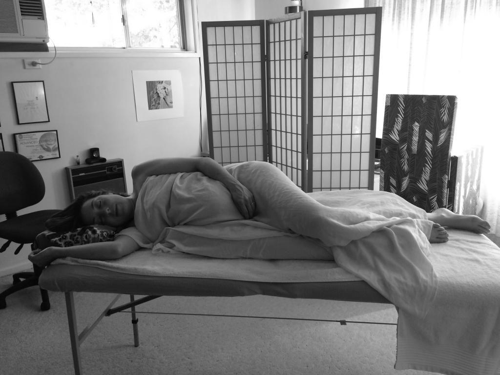 A client enjoying the MyPOD pillow