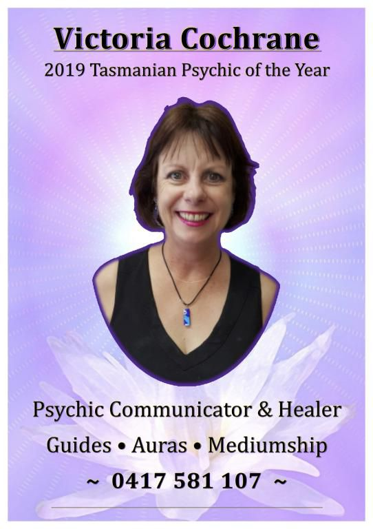 Victoria, Tasmanian Psychic Expos' 2019 Psychic of the Year, is a talented clairvoyant, psychic medium and quantum energy healer. She does soul and past-life healings, talks to past-over loved ones and will help you to clear the past to create a more posi