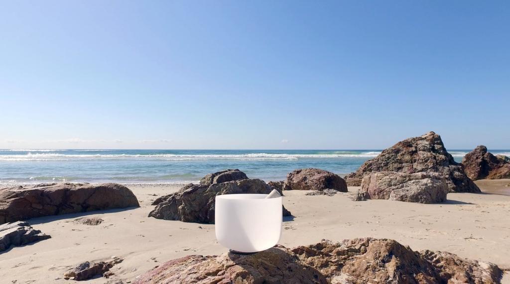 Sound bowl at beach