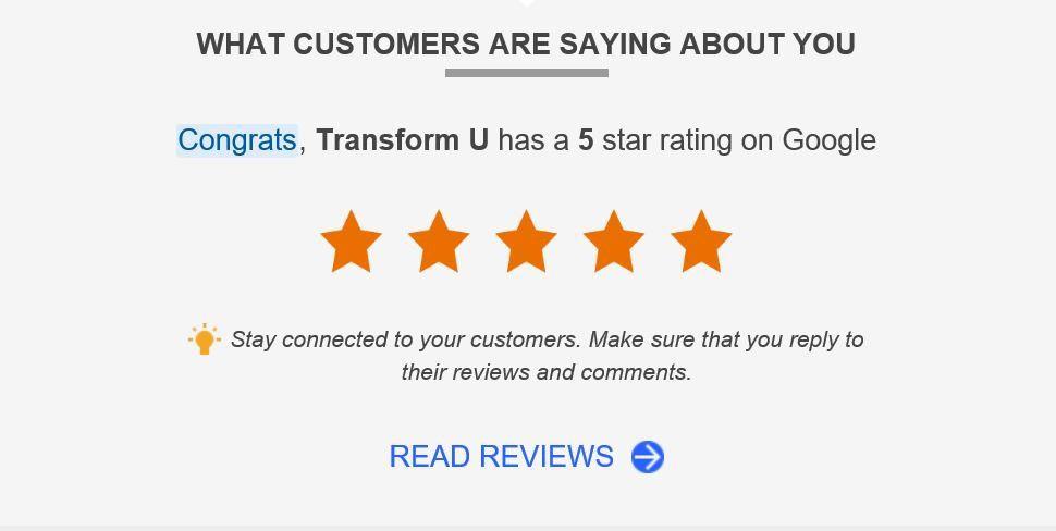 Transform U Hypnotherapy five star rating