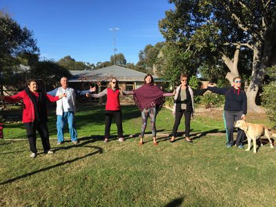 It's great to do qigong outside- in the sunshine when its cooler and under the shade of the tree in the summer