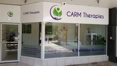 CARM Therapies shop front. Located next to Higgins Pharmacy at Higgins shops.