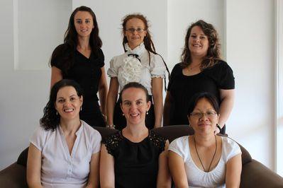 Front: L-R Dr Marg, Dr Claire, Vivian. Back: L-R Leah, Jay, Ursula.